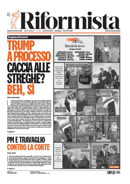 Il Riformista - Prima pagina del 01 novembre 2019