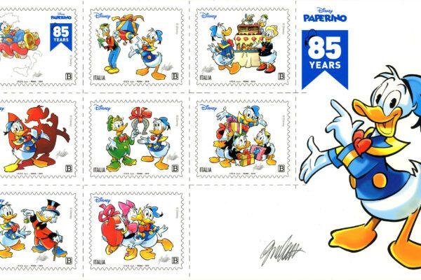 Paperino compie 85 anni: nascono i francobolli in suo onore