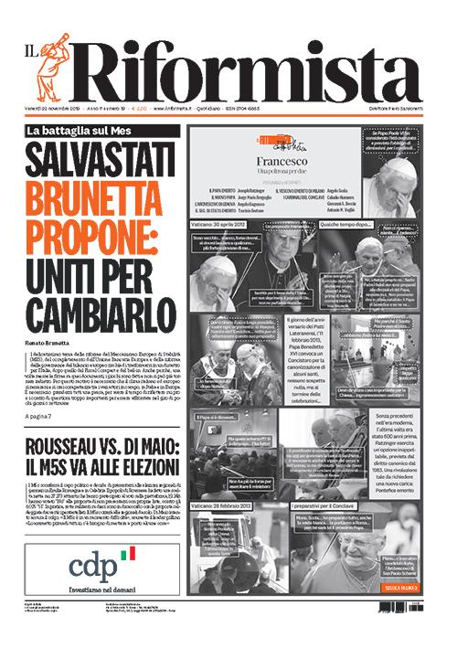 Il Riformista, prima pagina del quotidiano di oggi