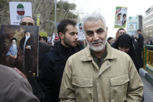 FILE – In this Thursday, Feb. 11, 2016, file photo, Qassem Soleimani, commander of Iran's Quds Force, attends an annual rally commemorating the anniversary of the 1979 Islamic revolution, in Tehran, Iran. Iraqi TV and three Iraqi officials said Friday, Jan. 3, 2020, that Gen. Qassim Soleimani, the head of Iran's elite Quds Force, has been killed in an airstrike at Baghdad's international airport. (AP Photo/Ebrahim Noroozi, File)