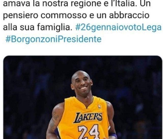 """Morte Kobe Bryant, la Lega ricorda il campione con hashtag delle Regionali: """"Sciacalli"""""""
