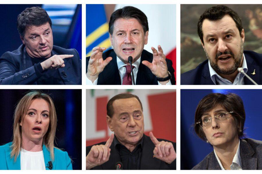 In alto da sinistra: Renzi, Conte, Salvini In basso da sinistra: Meloni, Berlusconi, Bongiorno