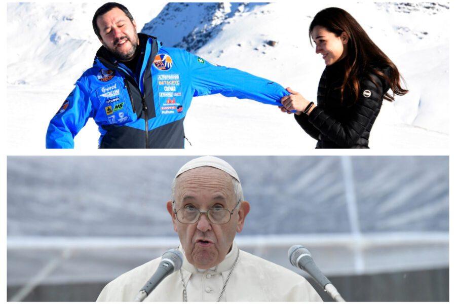 """Salvini prende in giro Papa Francesco: """"Strattonato da fan agitata"""""""