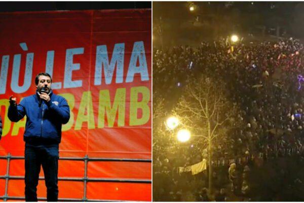 Le Sardine 'vincono' la sfida di piazza a Bibbiano contro Salvini