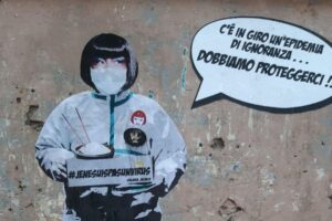 """Coronavirus, un murale contro la psicosi: """"C'è epidemia di ignoranza, Dobbiamo proteggerci"""""""