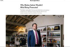 """Il New York Times intervista Salvini e lo definisce """"esperto di vittimismo politico"""""""