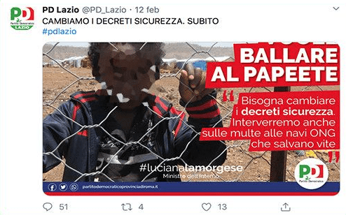 Bambino migrante sul manifesto del Pd contro Salvini: è polemica e i Dem danno la colpa allo stagista