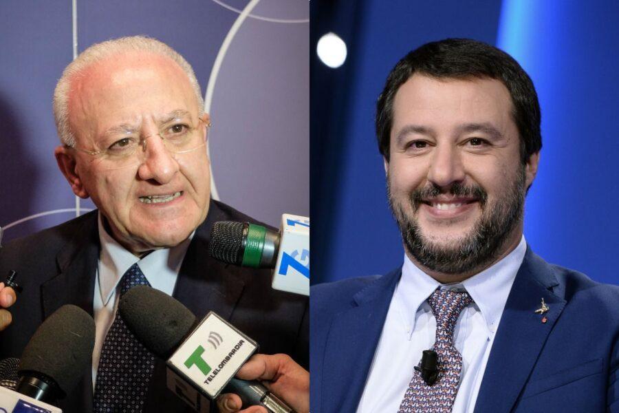 """Salvini """"porta seccia"""", leader della Lega replica a De Luca: """"Non fai più ridere"""""""