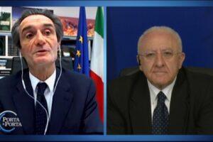 Fiori tra Fontana e De Luca a Porta a Porta: il finto duello in tv
