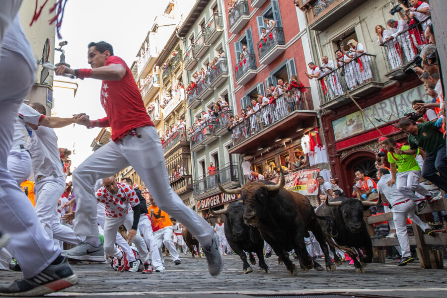 Bulls of the La Palmosilla bull ranch run down a street during the traditional San Fermin bull run in Pamplona, Spain, 13 July 2019. The festival, locally known as Sanfermines, is held annually from 06 to 14 July in commemoration of the city's patron saint. Hundreds of thousands of visitors from all over the world attend the fiesta, with many of them physically participating in the highlight event – the running of the bulls, or encierro.