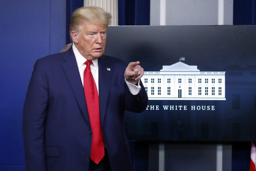 Il presidente Donald Trump in conferenza stampa alla Casa Bianca  (31 marzo 2020, AP Photo/Alex Brandon)