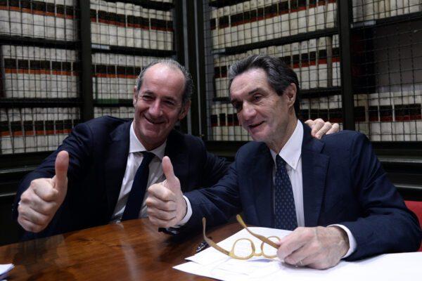 Il governatore del Veneto Luca Zaia e il governatore  della Lombardia Attilio Fontana