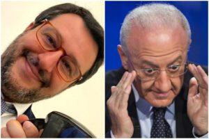 """De Luca provoca Salvini e lancia l'appello: """"Non curatevi al Nord, qui ospedali sicuri e tra i migliori al mondo"""""""