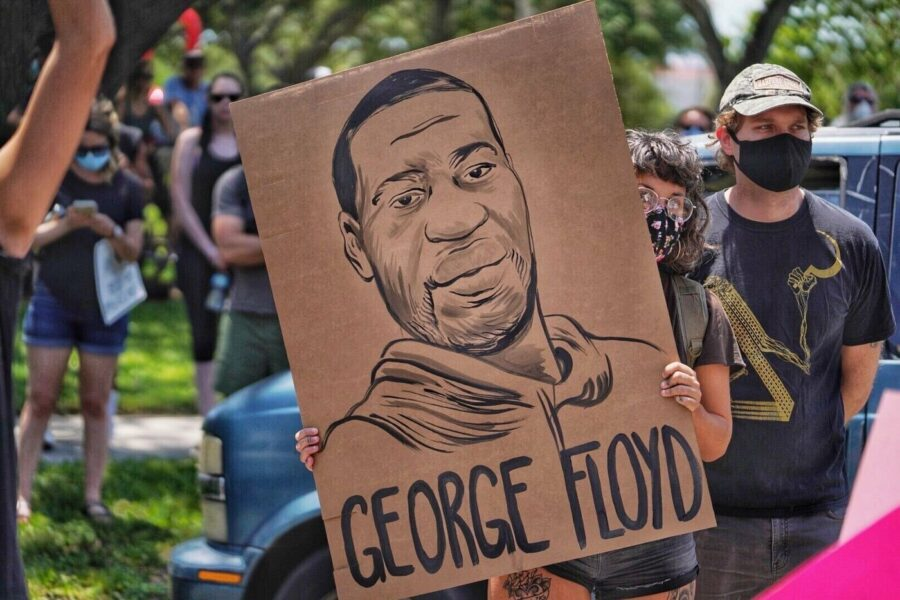Protesters take to the streets, Saturday, May 30, 2020 in St. Petersburg, Fla. Protests across the country have escalated over the death of George Floyd who died after being restrained by Minneapolis police officers on Memorial Day, May 25. (Martha Asencio-Rhine/Tampa Bay Times via AP)