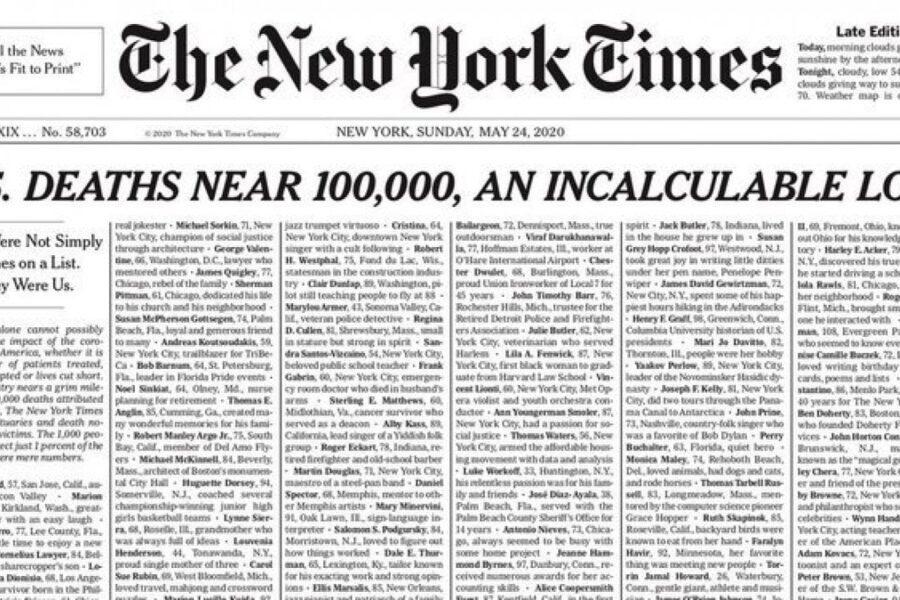 """""""Non erano solo nomi, eravamo noi"""", la prima pagina del New York Times per le vittime di Covid"""