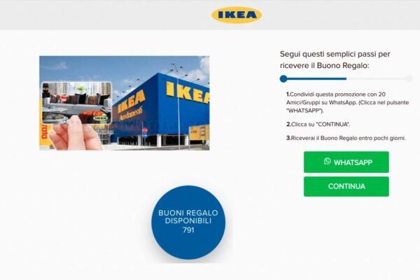 Buoni regalo Ikea da 250 euro, la truffa virale su WhatsApp