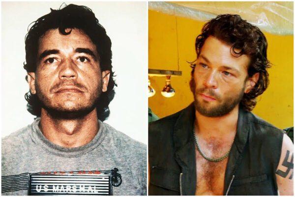 A sinistra foto segnaletica di Lehder. A destra il narcotrafficante interpretato da Riedinger