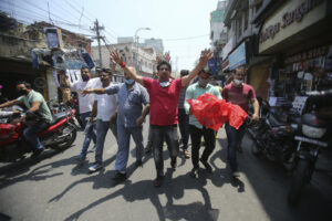 Indians shout slogans against the Chinese government in Jammu, India, Wednesday, June 17, 2020. As some commentators clamored for revenge, India's government was silent Wednesday on the fallout from clashes with China's army in a disputed border area in the high Himalayas that the Indian army said claimed 20 soldiers' lives. An official Communist Party newspaper said the clash occurred because India misjudged the Chinese army's strength and willingness to respond. (AP Photo/Channi Anand)