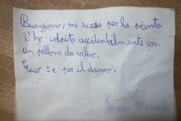"""Il biglietto di scuse virali del bambino di 11 anni: """"Ho colpito la sua pianta, ecco 5 euro"""""""