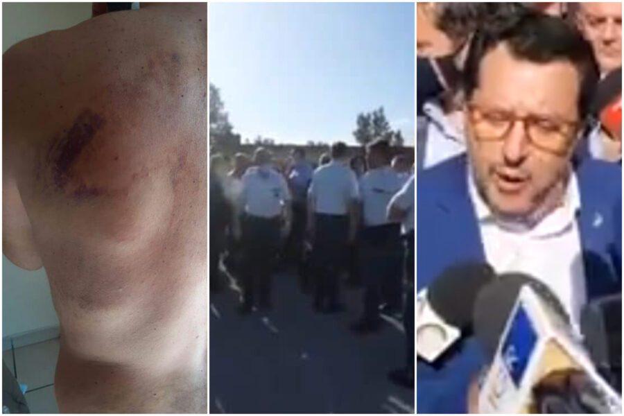 Carcere Santa Maria Capua Vetere, agenti indagati protestano sui tetti: passerella di Salvini