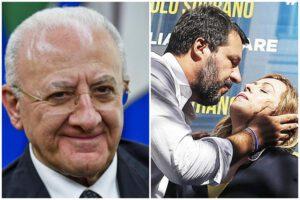 """De Luca replica a Salvini: """"Cafone e somaro. Ha la faccia come il suo fondoschiena, peraltro usurato"""""""