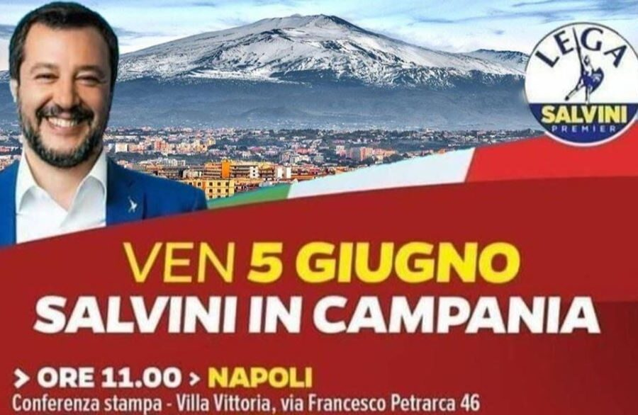 Salvini a Napoli con la foto dell'Etna, il giallo della foto usata per il tour in Campania