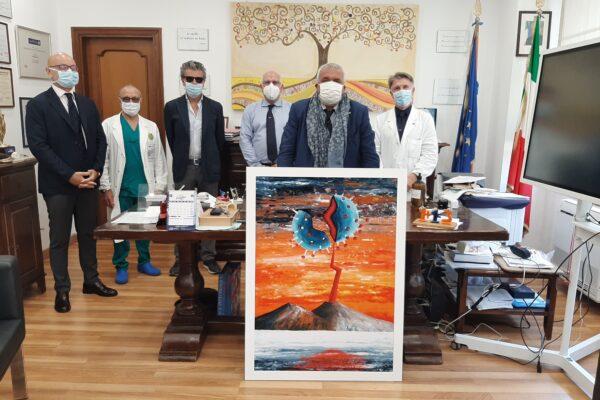 Il Vesuvio 'spacca' il Coronavirus, il quadro di Gennaro Regina donato al Pascale