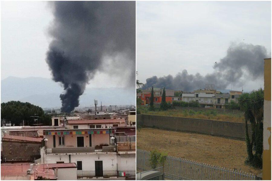 Rogo ad Afragola, in fiamme deposito di autobus: aria irrespirabile