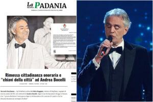 'La Nuova Padania' contro Bugliano (il Comune che non esiste) sulla cittadinanza onoraria ritirata a Bocelli