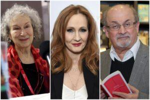 In foto da sinistra la scrittrice Margaret Atwood, la scrittrice J. K Rowling, lo scrittore Salamn Rushdie; tutti e tre firmatari della lettera contro la cosiddetta 'cancel culture' su Harper's (Elaborazione da Lapresse)