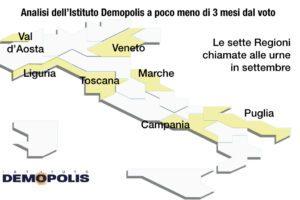 Sondaggio Demopolis sulle Regionali: in Puglia partita incerta, vittorie nette per Zaia e De Luca