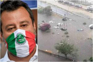 """Salvini """"miserabile sciacallo"""", il leader della Lega sfrutta il nubifragio di Palermo per la propaganda sui migranti"""