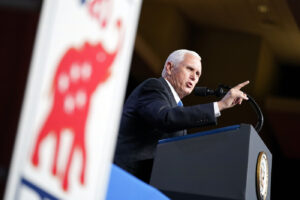 Vice President Mike Pence speaks at the 2020 Republican National Convention in Charlotte, N.C., Monday, Aug. 24, 2020. (AP Photo/Andrew Harnik)