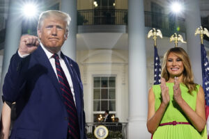 President Donald Trump and first lady Melania Trump stand on the South Lawn of the White House on the fourth day of the Republican National Convention, Thursday, Aug. 27, 2020, in Washington. (AP Photo/Evan Vucci)