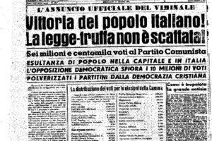 Storia della legge truffa del 1953 e delle battaglie per affermare il sistema parlamentare