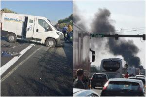 Assalto a portavalori, inferno in autostrada: spari, auto in fiamme e chiodi sulla carreggiata