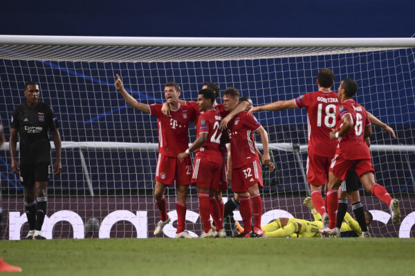 Bayern's Serge Gnabry celebrates with teammates after scoring his side's second goal during the Champions League semifinal soccer match between Lyon and Bayern at the Jose Alvalade stadium in Lisbon, Portugal, Wednesday, Aug. 19, 2020. (Franck Fife/Pool via AP)