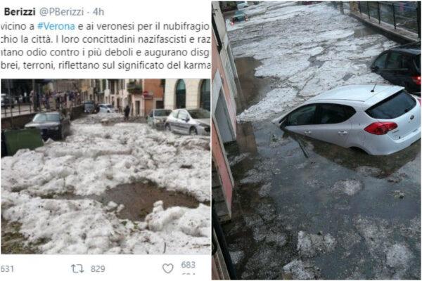"""Nubifragio a Verona """"karma contro i nazifascisti"""", bufera per le parole del giornalista di Repubblica"""