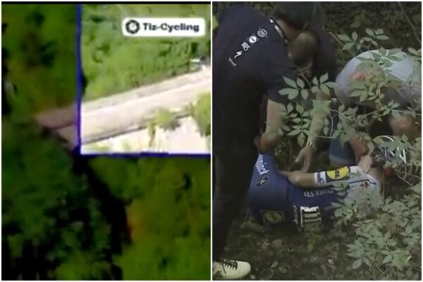 Ciclista va fuori strada e precipita per 10 metri: grave incidente al giro di Lombardia