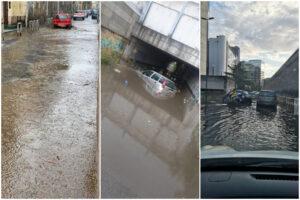 Nubifragio su Napoli, strade allagate e fango: auto bloccate nel sottopasso