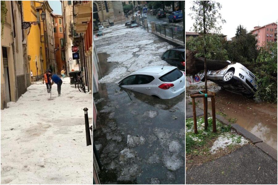 Nubifragio in Veneto, a Verona un metro e mezzo di acqua e grandine in pochi minuti