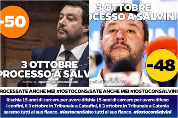 """Conto alla rovescia per il processo Gregoretti, Salvini fa sparire il """"-49"""" su Facebook"""