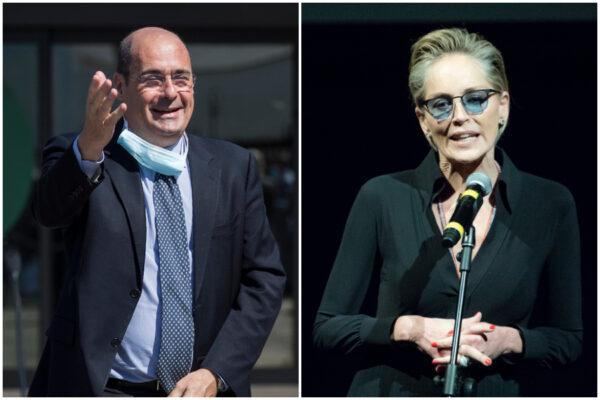 """Sharon Stone si congratula con Zingaretti: """"Grazie per il vaccino come bene comune"""""""