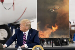 President Donald Trump participates in a briefing on wildfires at Sacramento McClellan Airport, in McClellan Park, Calif., Monday, Sept. 14, 2020. (AP Photo/Andrew Harnik)