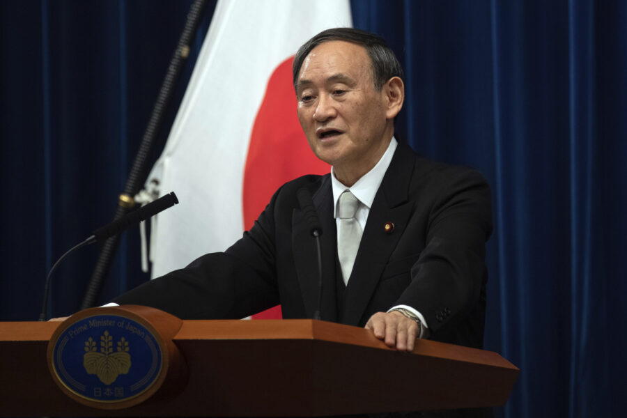 Japan's new Prime Minister Yoshihide Suga speaks during a press conference at the prime minister's official residence Wednesday, Sept. 16, 2020 in Tokyo, Japan. Japan's Parliament elected Suga as prime minister Wednesday, replacing long-serving leader Shinzo Abe with his right-hand man.(Carl Court/Pool Photo via AP)