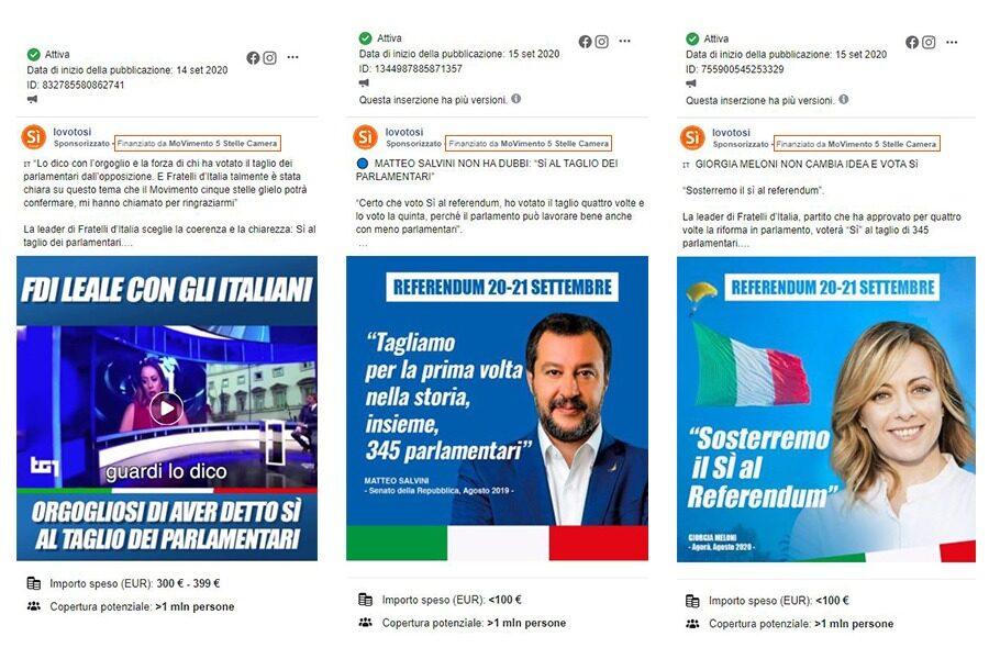 Il Movimento 5 Stelle finanzia la propaganda di Salvini e Meloni per il sì al Referendum