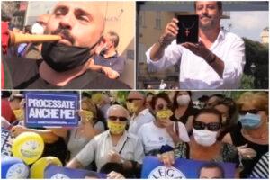 """Fischi, insulti e zampogna contro Salvini: """"Fomentatore d'odio, ci hai fatto odiare gli uni con gli altri"""""""