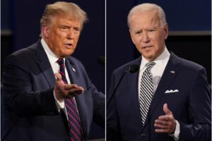 FILE – This combination of Sept. 29, 2020, file photos shows President Donald Trump, left, and former Vice President Joe Biden during the first presidential debate at Case Western University and Cleveland Clinic, in Cleveland, Ohio. Trump and Biden have starkly different visions for the international role of the United States — and the presidency.  (AP Photo/Patrick Semansky, File)