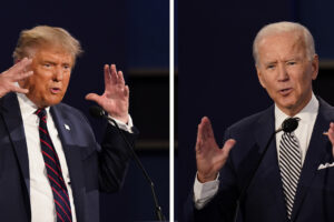 FILE – This combination of Sept. 29, 2020, file photos show President Donald Trump, left, and former Vice President Joe Biden during the first presidential debate at Case Western University and Cleveland Clinic, in Cleveland, Ohio. The Commission on Presidential Debates says the second Trump-Biden debate will be 'virtual' amid concerns about the president's COVID-19. (AP Photo/Patrick Semansky, File)