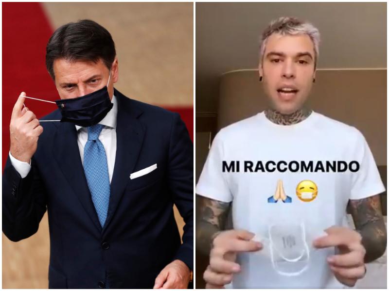 """Conte chiede aiuto ai Ferragnez per lanciare l'appello ai giovani: """"Usate la mascherina"""""""